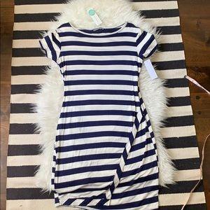 NWT Navy/White stripe t-shirt dress w/ Stretch!